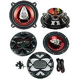 2) BOSS CH5530 5.25 3-Way 225W + CH6530 6.5 300W 3 Way Car Coaxial Speakers