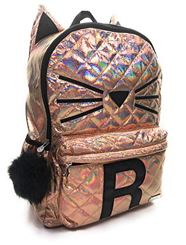 Justice Girls Backpack Quilted Cat Initial Backpack Bag Rucksack Back to School (R)