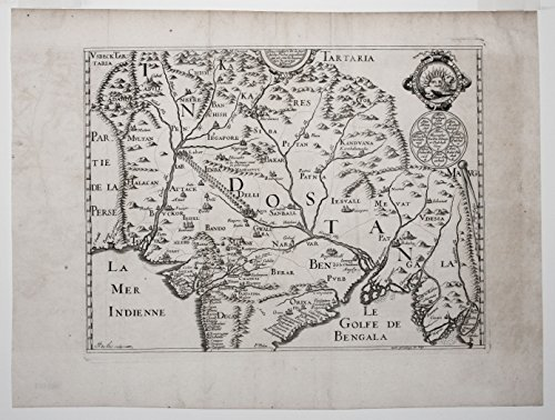 Description de la partie des Indes orientales qu est sous la domination du grand Mogol. ORIGINAL antique map of India, Pakistan, Afghanistan, Bangladesh and Myanmar