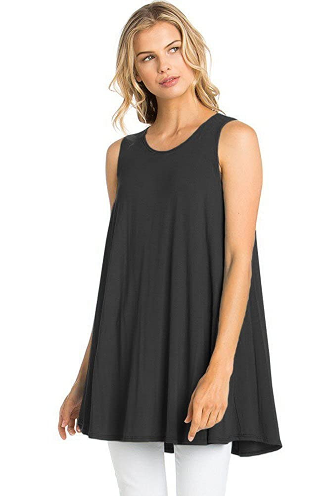 865332428ad 12 Ami Solid Basic Long Tank T-Shirt Tunic (S-3X) - Made in USA at Amazon  Women's Clothing store: