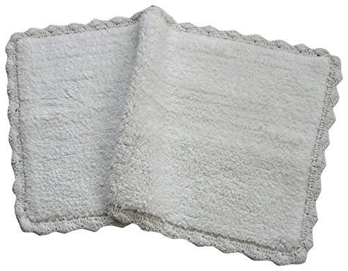 Chardin Home - 100% Pure Cotton - Crochet Bath Rug ,  21''x34'' Mat  with Latex spray non-skid backing -  - bathroom-linens, bathroom, bath-mats - 51KZKwh1kYL -