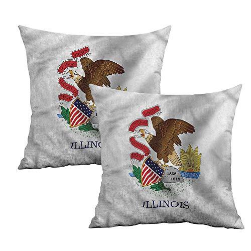 Khaki home American Square Throw Pillow Covers Bald Eagle Illinois Flag Square Pillowcase Protector Cushion Cases Pillowcases for Sofa Bedroom Car W 16