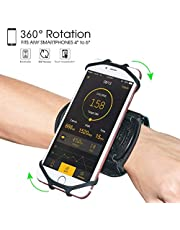 """Wristband Phone Holder,HC 360°Rotatable Universal Sports Wristband for iPhone X/8 Plus/8/7/6s,Galaxy S9 Plus/S9/S8 & Other 4""""-6.5"""" Smartphone,Running Armband for Hiking Biking Walking (Wrist)"""