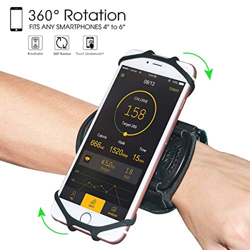Wristband Phone Holder,HC 360°Rotatable Universal Sports Wristband for iPhone X/8 Plus/8/7/6s,Galaxy S9 Plus/S9/S8 & Other 4