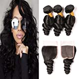 Brazilian Loose Wave with Lace Closure 4x4 Free Part Medium Brown Milky Way Wet and Wavy Human Hair Weaves Pieces Silky 3 Bundles Loose Curls Real Hair Extensions Deals 20 22 24 + 18 inch