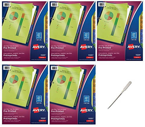Avery Plastic Preprinted Tab Dividers Bundle, 8.5 x 11 inch, Jan-Dec Tab, Multi-Color Tab, 5 Packs (11331) - Bundle Includes a Letter Opener by Avery