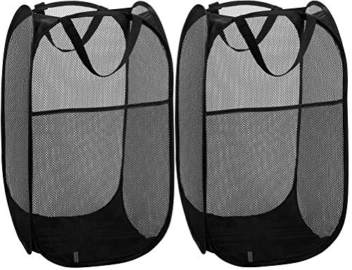 Mesh Popup Laundry Hamper – Portable, Durable Handles, Collapsible for Storage and Easy to Open. Folding Pop-Up Clothes…