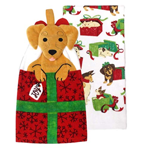 St. Nicholas Square Dog Tie-Top Christmas Kitchen Towel 2-Pack ()