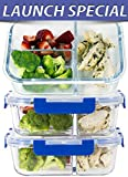 #2: [LIFETIME LIDS] LARGE Premium 3 Sets 3 Compartment Glass Meal Prep Containers 3 Compartment with Snap Locking Lids, BPA-Free, Microwave, Oven, Freezer, Dishwasher Safe (4.5 Cup, 36 Oz, Rectangle)