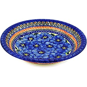 Blue Rose Polish Pottery Blue Art Soup Plate