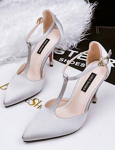 LFNLYX Zapatos de mujer-Tacón Stiletto-Tacones / Puntiagudos / Punta Cerrada-Sandalias-Vestido-Seda-Negro / Gris Camel