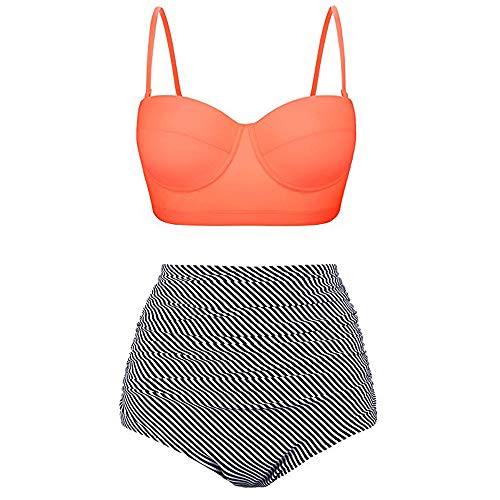 - POQOQ Sports Swimwear Women's Bikini and Boardshort │Strappy Hollow-Out Back Tankini Swimsuits for Women │Two Pieces M Orange