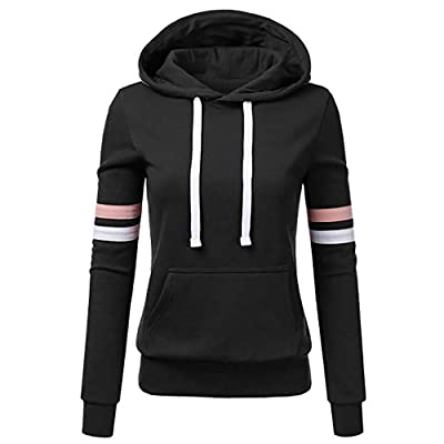jin&Co Womens Casual Sweatshirts with Hooded Striped Sleeve Front Pockets Hoodies Outdoor/Indoor Fashion Pullover Tops: Clothing