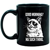 Grumpy Cat Good Morning? No Such Thing Black Mug