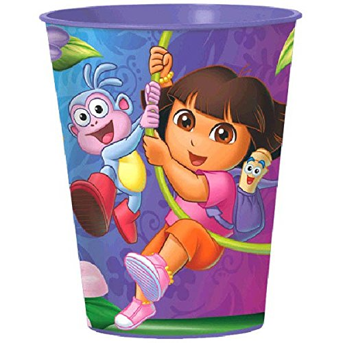 Boots From Dora Costumes - Amscan Colorful Dora's Flower Adventure Birthday Party Plastic Favor Cup (1 Piece), Purple, 16 oz
