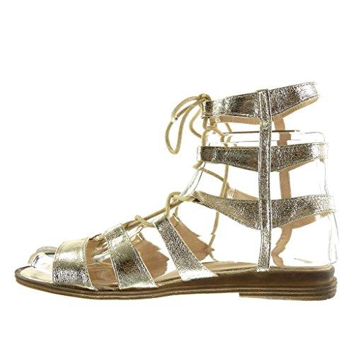 Angkorly Gladiatore Ricamo Scarpe Blocco Tacco 2 Cm Sandali Oro briglia Sexy A Multi Moda Donna BtYrqBw