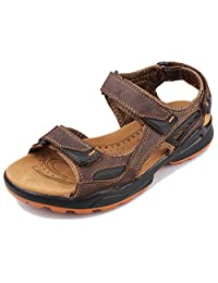 Fangsto Men's Leather Athletic Outdoor Walking & Hiking Sandals