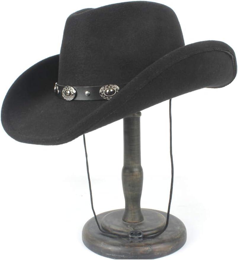 L.W.S Sombreros Mujeres Hombres Steampunk Hollow Western Cowboy Hat Caballero Roll Up ala Sombrero Iglesia Cap Papá Hat Cowboy Sombreros De Vaquero (Color : Negro, tamaño : 56-59cm)