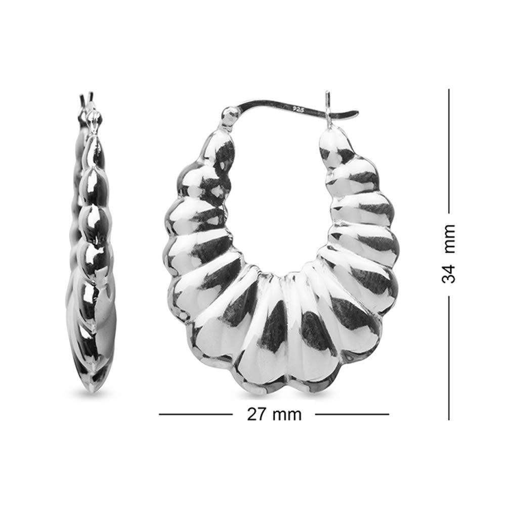e1b3c25c5 Amazon.com: LeCalla Sterling Silver Jewelry Large Shrimp Hoop Earrings for  Women: Jewelry