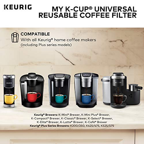 Keurig My K-Cup Universal Reusable K-Cup Pod Coffee Filter, Compatible with All 2.0 Keurig K-Cup Pod Coffee Makers, 1 Count, Black