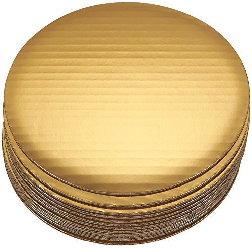 Cake Boards - 12-Piece Cardboard Round Cake Circle Base, 8 inches Diameter, Gold