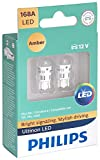 Philips 168ALED Ultinon LED Bulb (Amber), 2 Pack