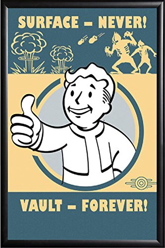 Amazon com: FALLOUT 4 Pip-Boy SURFACE NEVER VAULT FOREVER Framed