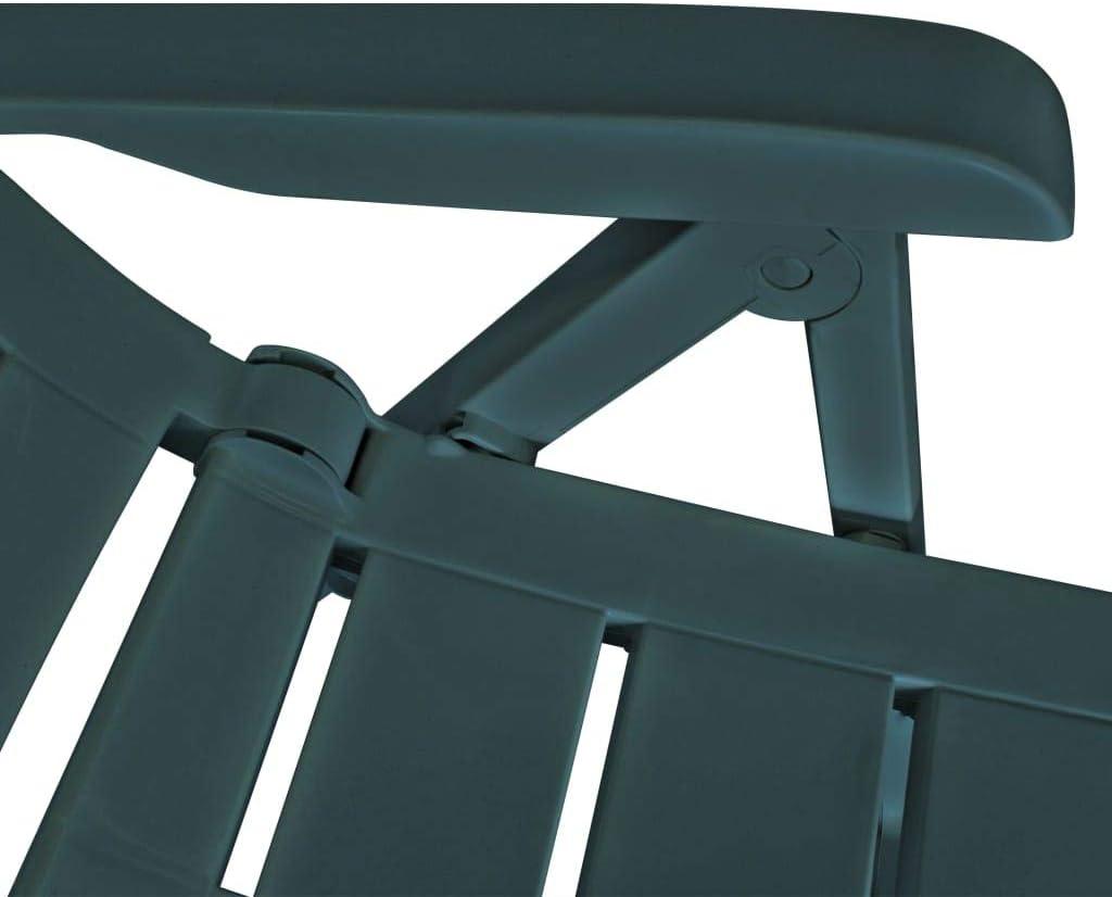 vidaXL 2x Reclining Garden Chairs Plastic Green Outdoor Bistro Foldable Seat