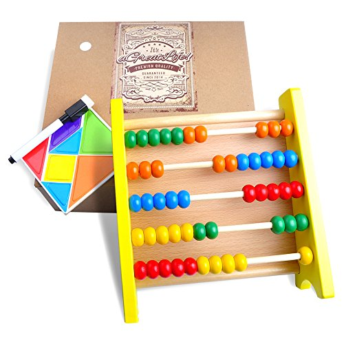 Wooden Abacus: Educational Toy for Kids with Free Magnetic Puzzle Activity Kit - Best Counting Toy with Brightly Colored and Child-safe Beads - Perfect Math tool for Toddlers (Kindergarten Math Kit)