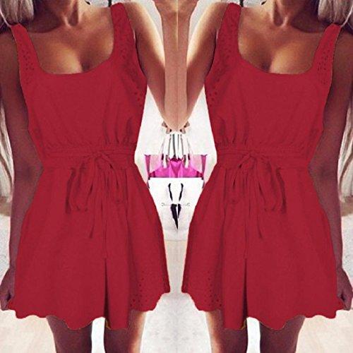 f88f85ec794b PAOLIAN Damen Sommerkleid Frauen Sommer Beiläufig Kleider Ärmelloses  Cocktail Kurzes Minikleid A-Linie Weste Strandkleid ...