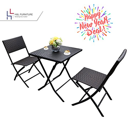 3 Piece Wicker Chair (H&L Patio Resin Rattan Steel Folding Bistro Set, Parma Style, All Weather Resistant Resin Wicker, 3 PCS Set of Foldable Table and Chairs, Color Espresso Brown, 1 Year Warranty)