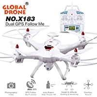 ZLOSKW Global Drone X183 5.8GHz 4CH 6-Axis Gyro WiFi FPV with HD 1080P Camera GPS Brushless Quadcopter, Headless Mode, Real Time Transmission
