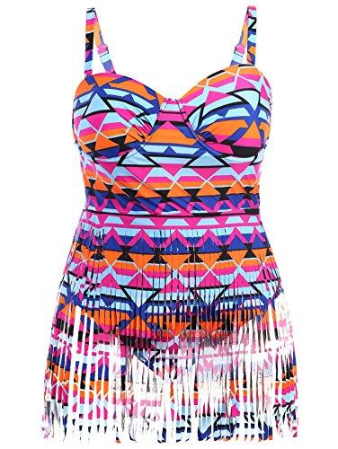 Creabygirls Womens Print Tassel Swimsuits