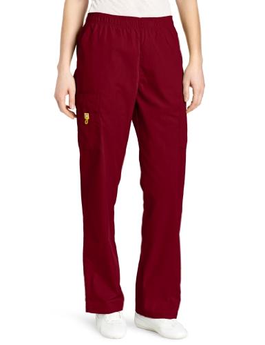 Pants Core Maroon - WonderWink Women's Scrubs Quebec Full Elastic Cargo Pant, Red, X-Large