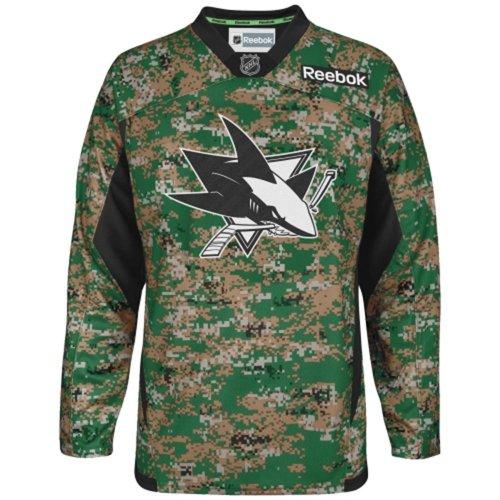 Price comparison product image Reebok San Jose Sharks Practice V-Neck Army Jersey - Digital Camo (X-Large )