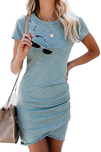 5aa5ebd3ad Gyozelem Women Dresses Summer Casual Ruched Short Sleeve Asymmetrical  Bodycon Mini Dress