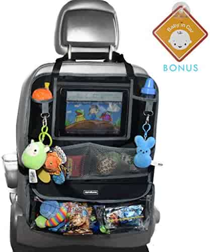 Alphabetz Deluxe Backseat Organizer & Protector with Baby-in-Car Sign, Black