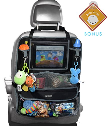 Alphabetz Deluxe Backseat Organizer & Protector with Baby-in-Car Sign, Black by Alphabetz