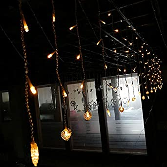 Luces De Cadena Led Cortina Ventana Jardín Exterior Cuento De Hadas Luces Jardín De Verano Luz De Cortina Creativa 4 * 0,6 Metros Encanta Cadena De Luz Impermeable, 4 * 0,6 Metros Blanco Cálido: Amazon.es: Iluminación