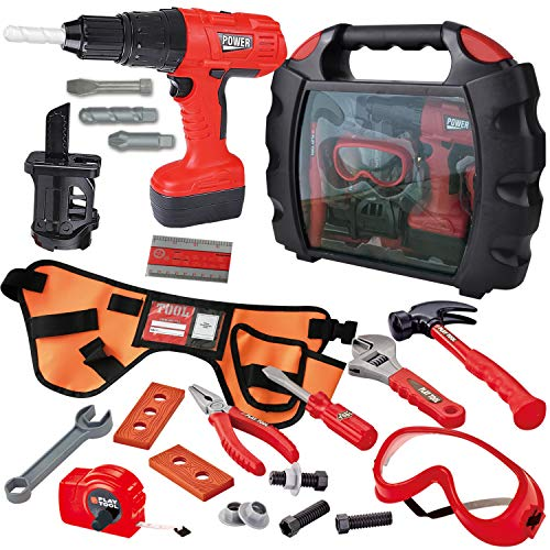 JOYIN 24 Pieces Kids Construction Tool Toy Kit Playset with Workshop Carry Case, Construction Worker Costume Belt, Electric Toy Drill and Other Construction Toy Accessories