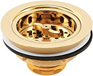 """Basket Strainer Assembly, Fits 3-1/2"""" to 4"""", Solid Brass Body w/Stainless Steel Basket, Polished Bra"""
