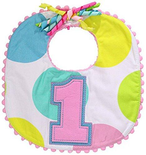 Mud Pie Baby-Newborn First Birthday Girl Bib, Polka Dots 0-12 Months