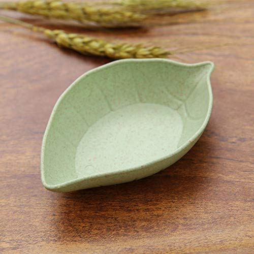 Baost Creative Leaf Shape Wheat Straw Seasoning Dish Sauce Dipping Bowls Vinegar Mini Dinnerware Plate Sauce Serving Dishes Condiment Dish for Paste, Jam, Appetizer, Snack Green by Baost (Image #2)