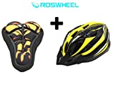 SAHOO Cycling Helmet MTB Bicycle Helmet with LED Lights + Bike Saddle Seat Cover (Yellow)