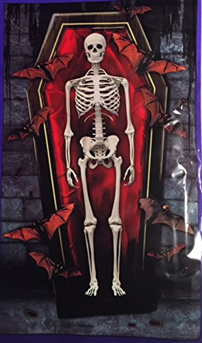 Halloween Skeleton In A Coffin Wall Decoration 42 x 72 (Homemade Animated Halloween Props)