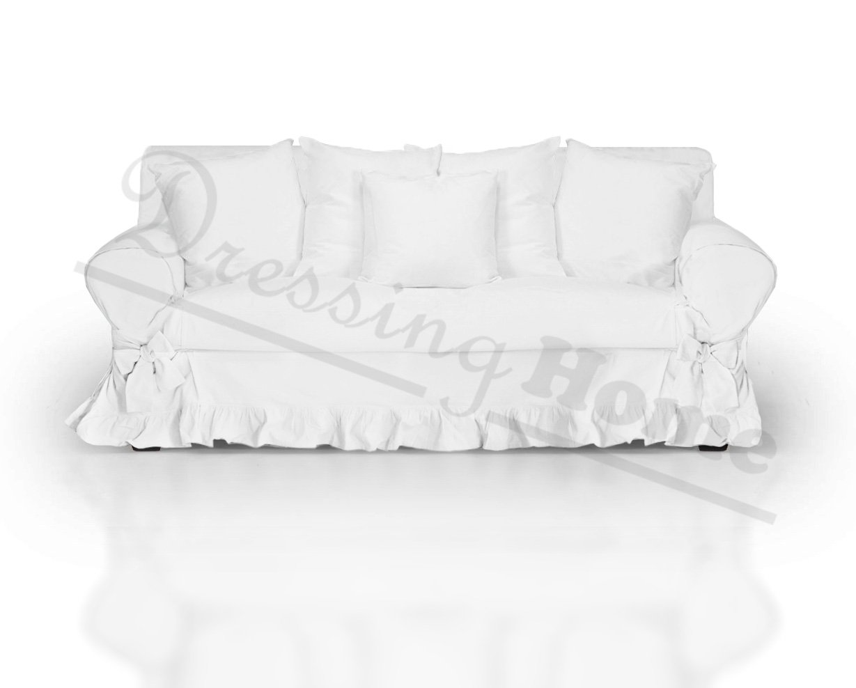 Blanc Mariclo Vintage Shabby Chic Farmhouse Couch Covers Sofa Protector Sofa Cover 2 Seater Ruffles White 100 Cotton