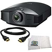 Sony VPL-HW45ES VPLHW45ES Full HD Home Theater Projector (Black) with HDMI Cable + Microfiber Cleaning Cloth Kit