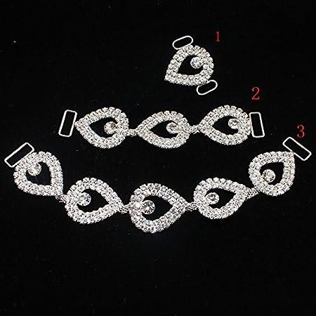 ddf9893da9bdc New 2PCS  lot of Rhine stone Bikini diamond buckle connectors strap women  Silver Diamond clasp