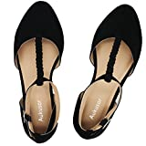 Aukusor Women's Wide Ballet Flat Shoes -T-Strap Comfort Light Pointed Toe Slip on Casual Shoes. (180315 Black 6W)