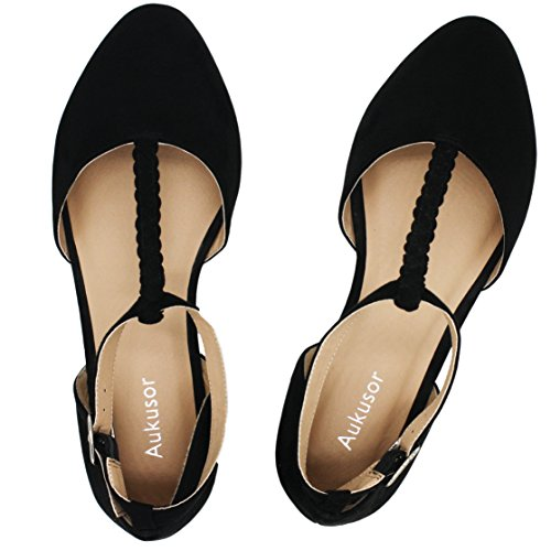 Aukusor Women's Wide Ballet Flat Shoes -T-Strap Comfort Light Pointed Toe Slip on Casual Shoes. (180315 Black 8W)